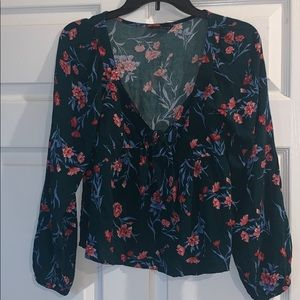 american eagle floral blouse with front tie